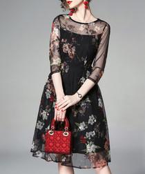 black floral sheer sleeve dress
