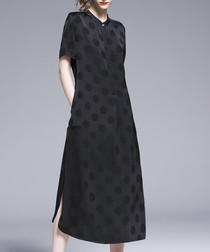 black polka shift midi dress