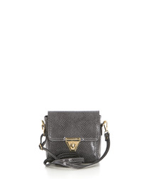 Grey snake stamped leather crossbody bag
