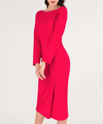 coral long sleeve midi dress