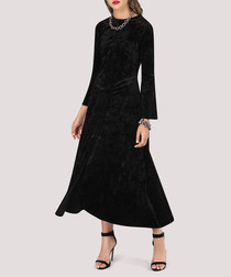 black crush velvet midi dress