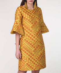 amber & red bell-sleeve tile dress