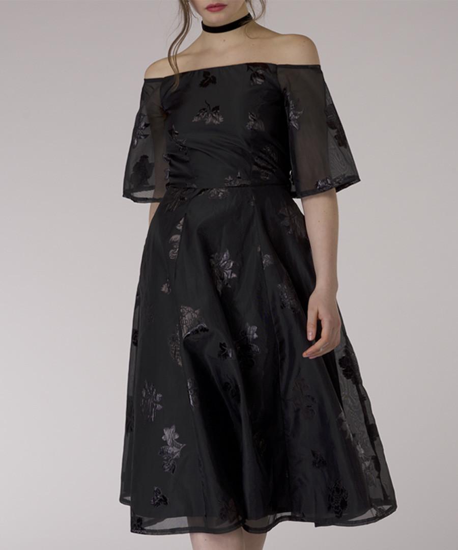 black off-shoulder sheer dress Sale - closet london