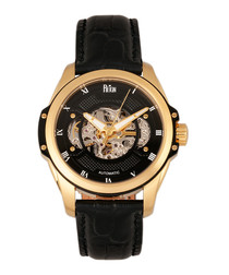 Henley black leather & steel watch