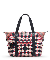 Art red print basic shopper