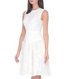 white cotton blend sleeveless dress