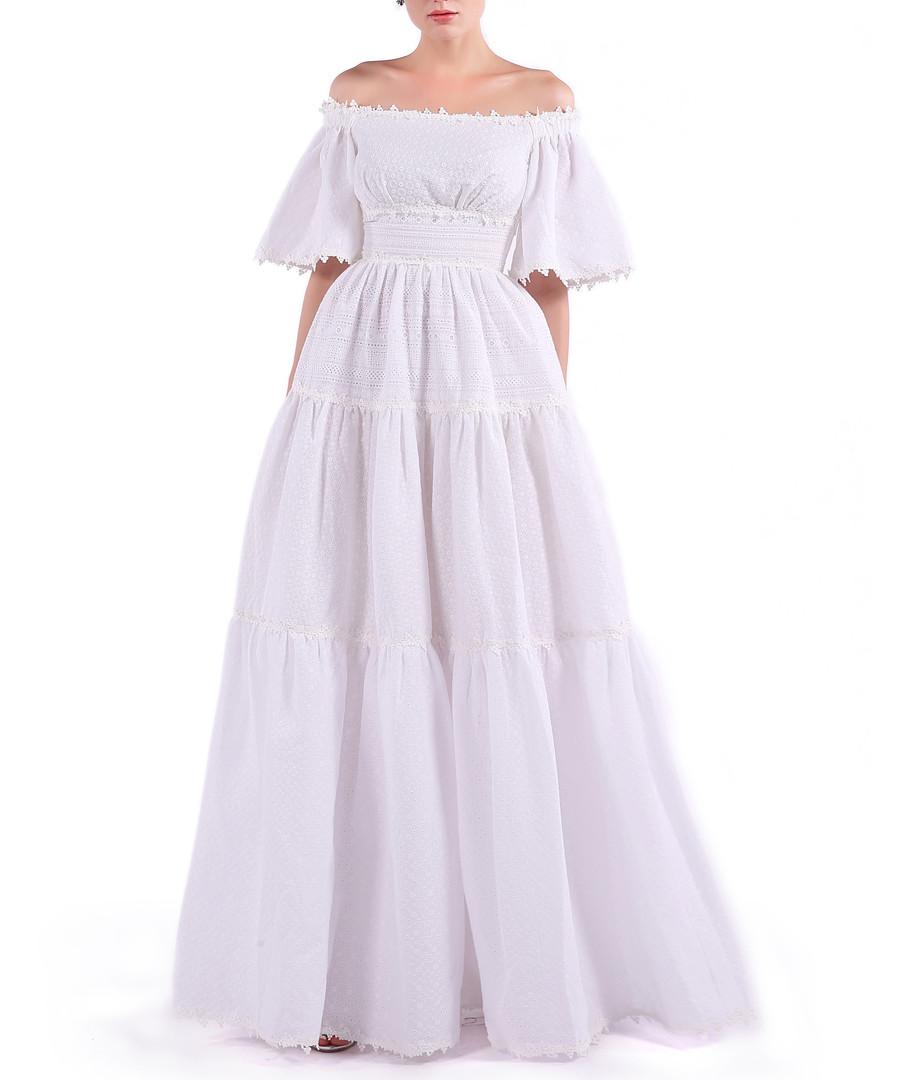 white cotton off-shoulder maxi dress Sale - isabel garcia