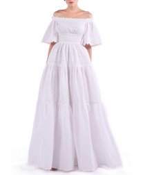 white cotton off-shoulder maxi dress