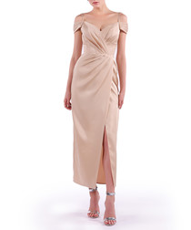 dusty pink wrap midi dress