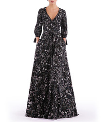 black floral V-neck maxi dress