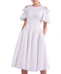white lace detail cold-shoulder dress