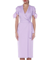 lavender wrap sleeve-tie dress