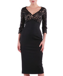 black lace detail V-neck dress