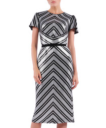 metallic chevron short sleeve dress