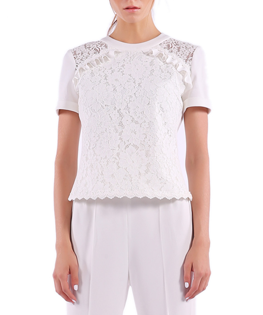 white cotton blend lace blouse Sale - Isabel Garcia