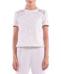 white cotton blend lace blouse