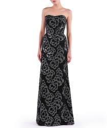 black bouquet strapless maxi dress