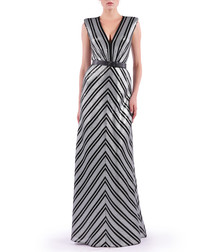 metallic chevron V-neck maxi dress