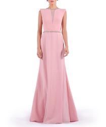 pink mesh insert maxi dress