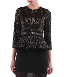 black cotton blend lace ruffle top