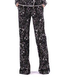 black floral long trousers