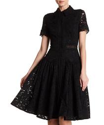 black cotton blend lace dress