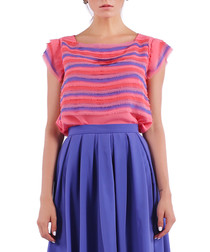 salmon & violet stripe blouse