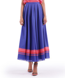 violet & pink pleated maxi skirt