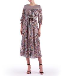 mauve floral midi dress