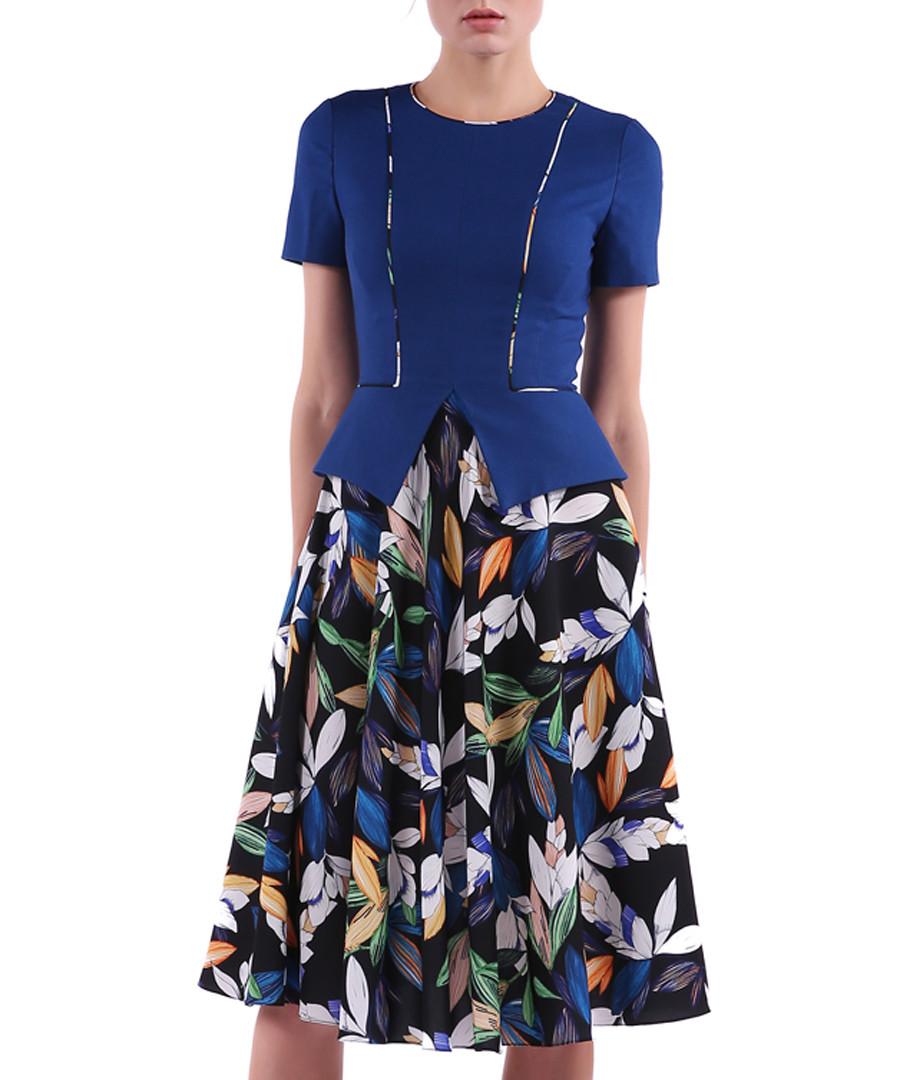 blue leaves short sleeve dress Sale - Isabel Garcia