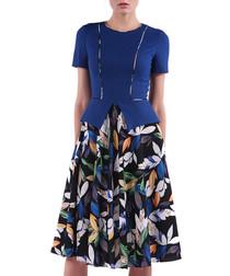 blue leaves short sleeve dress