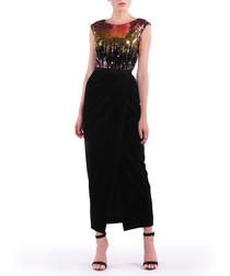 city sunset sequin maxi dress