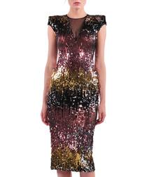 amber & rose sequin midi dress