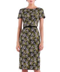 black & green cotton blend dress