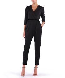 black wrap lapel jumpsuit
