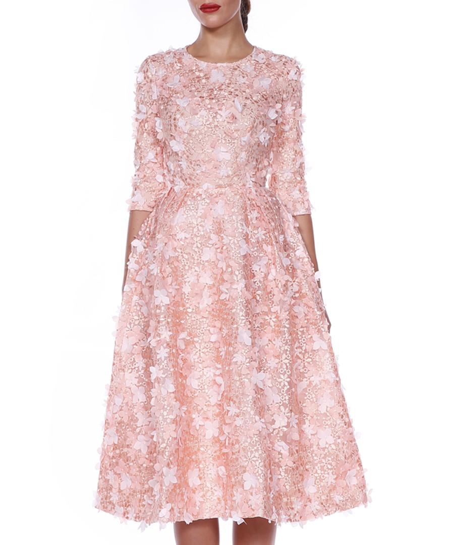 pale pink floral half sleeve dress Sale - lea lis by isabel garcia