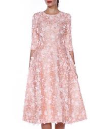 pale pink floral half sleeve dress