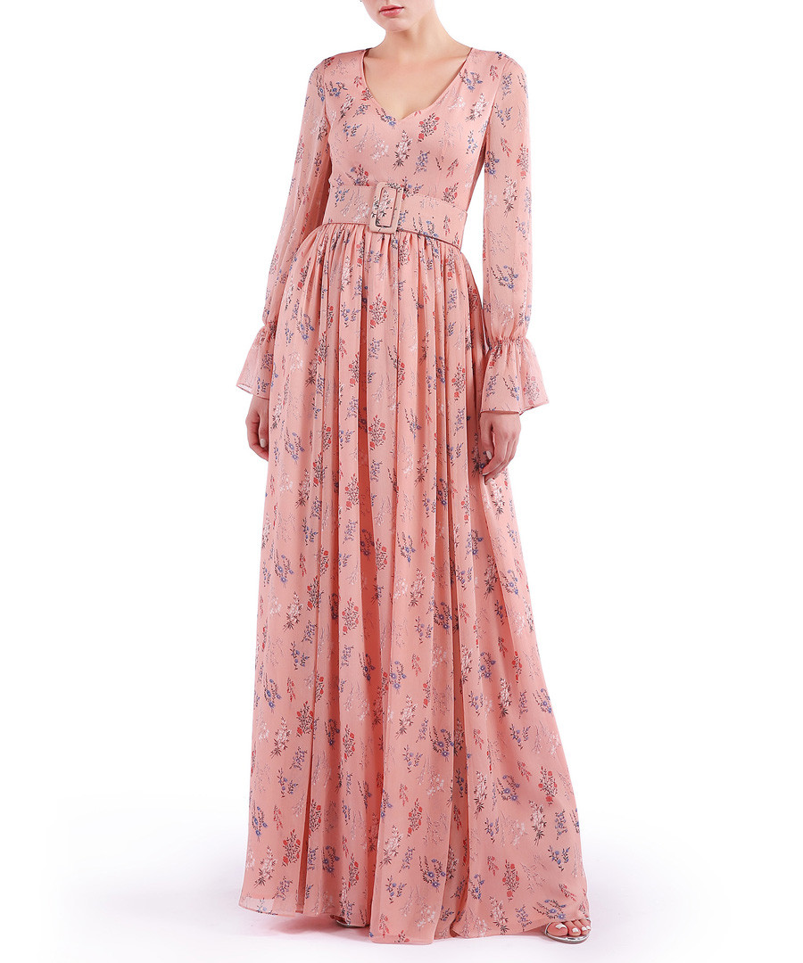 pink V-neck pleated maxi dress Sale - Isabel Garcia