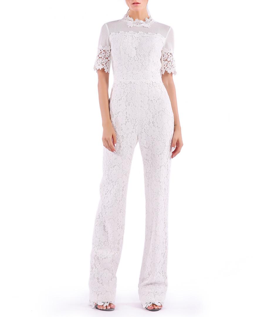 white cotton blend lace jumpsuit Sale - Isabel Garcia