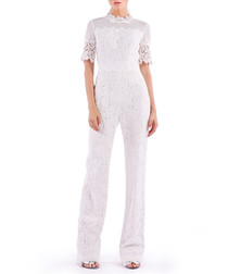 white cotton blend lace jumpsuit