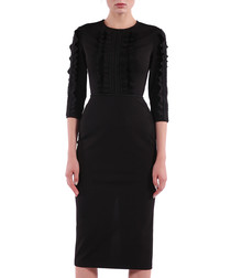 black frill contour midi dress