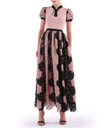 pink & black wave lace maxi dress