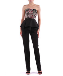 black & rust strapless jumpsuit