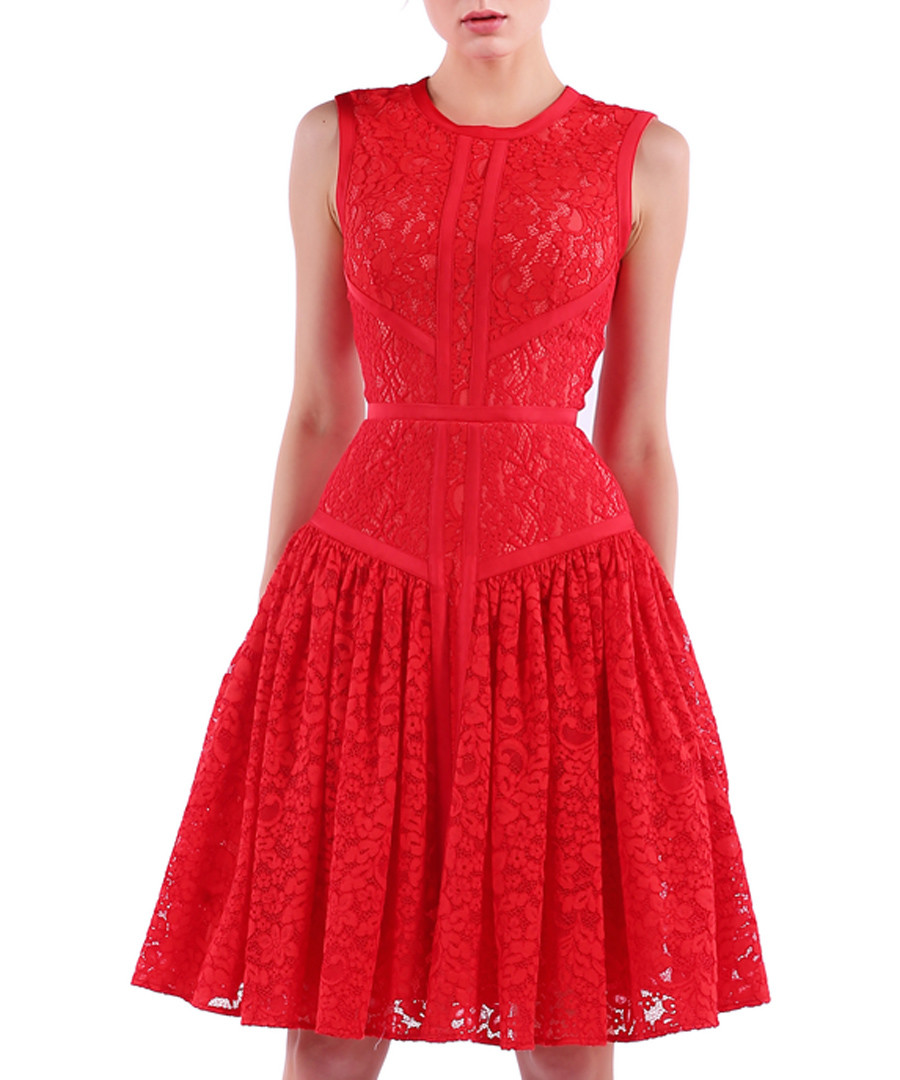 red cotton blend lace pleated dress Sale - Isabel Garcia