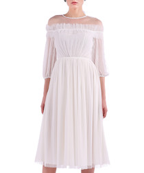 white off-shoulder pleated dress