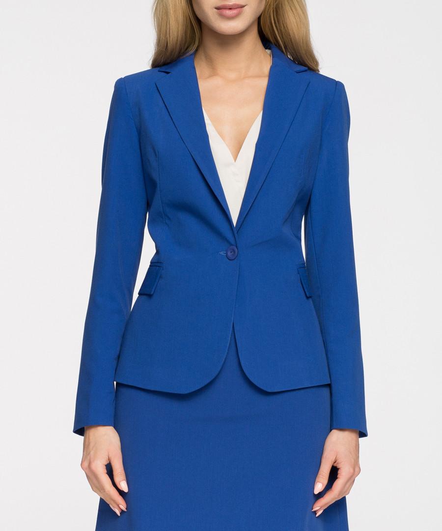 Royal blue single button blazer Sale - stylove