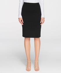 Black cotton blend midi skirt