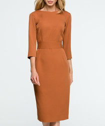 caramel fitted dress