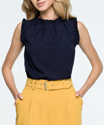 navy sleeveless scalloped blouse