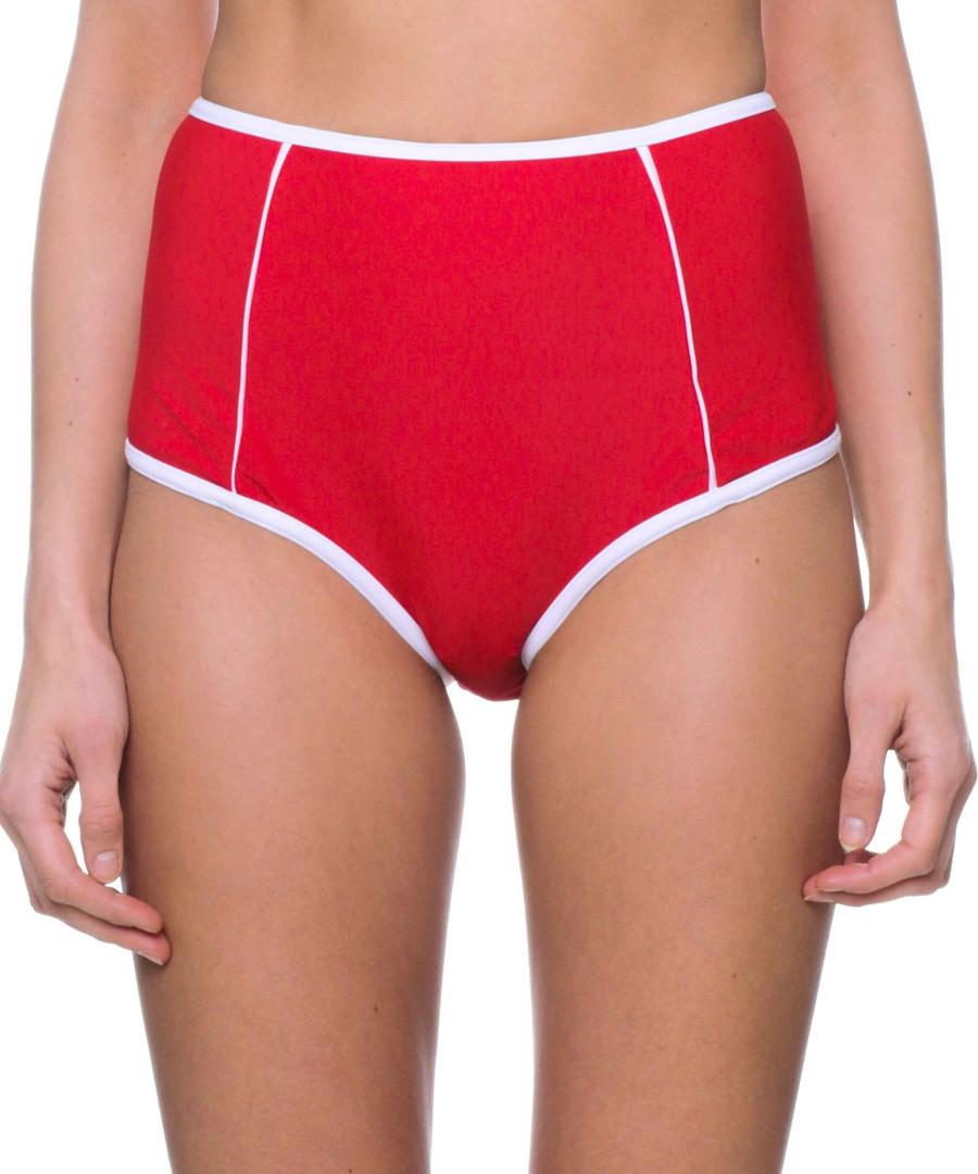 red & white high waist bikini bottoms Sale - fleur farfala
